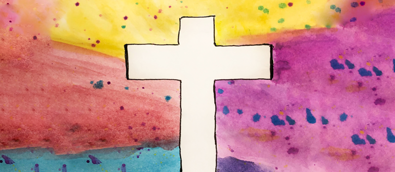 Cross on a watercolor background