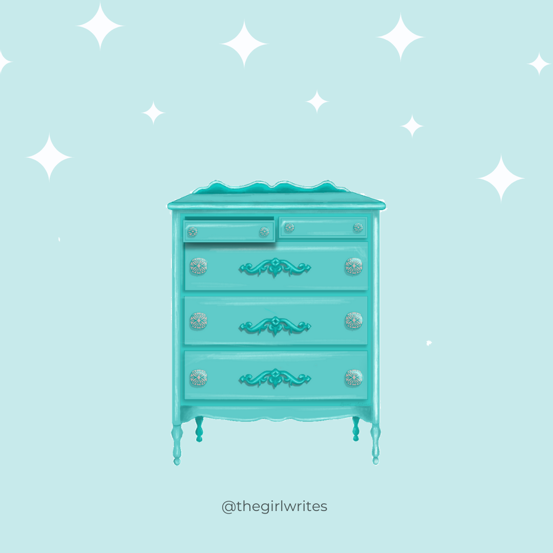 a dresser with one drawer open