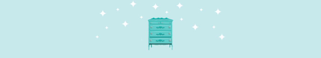 drawer illustration on aqua background