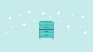 dresser illustration teal