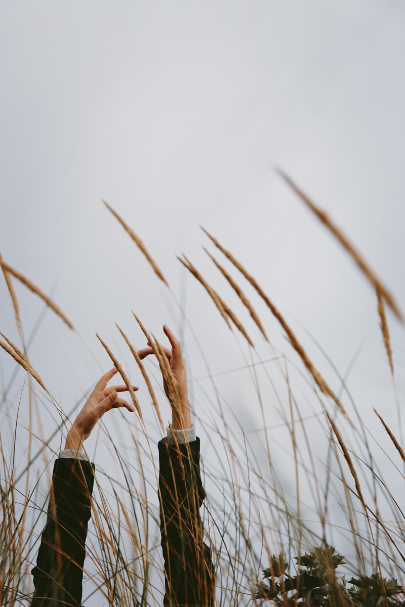 Arms and hands among tall grass
