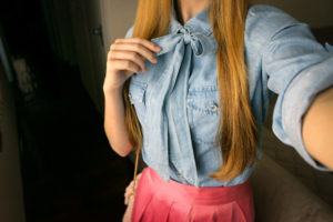 light jeans shirt with bow