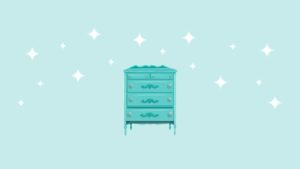 Teal dresser illustration with fourth drawer open