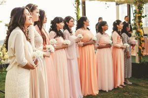 peach and pink pastel bridesmaid colors
